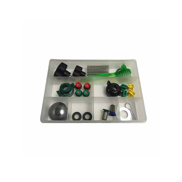 Image of an open clear plastic box split into sections, containing a selection of small parts for line markers, including nozzles, filters and handwheels.