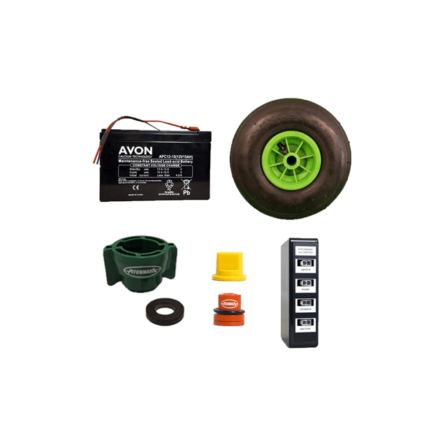 Image of a selection of small parts for Pitchmark's Eco spray markers, including a 12v 14ah battery, pneumatic tyre with green centre and plastic nozzles.