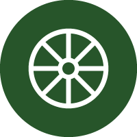 Green and white icon of a wheel, representing this machine is a transfer wheel-to-wheel line marker.
